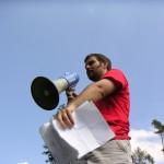 protest, megafon